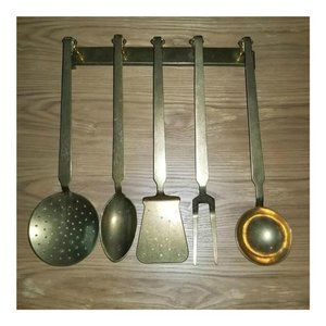Vintage Solid Brass Hanging 5 Pc Utensil Set